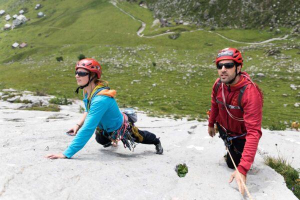 Grundausbildung Mehrseillängenklettern im Alpstein - Abseilen nach einer Mehrseillängenroute